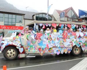 Winter Festival street parade's winning community float by Queenstown Primary. Photo by Mountain...
