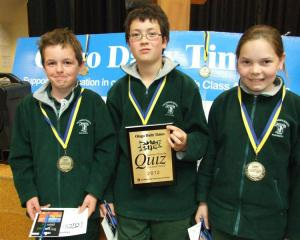 Year 5 and 6 winners (from left) Mat Johnston (10), Philipp Morgenstern  (10) and Abby Golden (11...