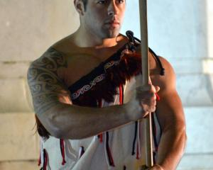2/4 RNZIR Maori warrior Lance Corporal Lundon Williamson at the dawn service at Queens Gardens....