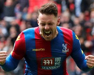 Crystal Palace's Connor Wickham celebrates scoring their second goal. Photo Reuters