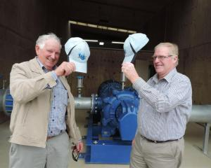 Two of the main men behind the new Waihao Downs irrigation scheme, John Kirk (left) and Robin...