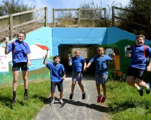 Abbotsford School pupils at the underpass between their school and Grand Vista Estate. Photo from...