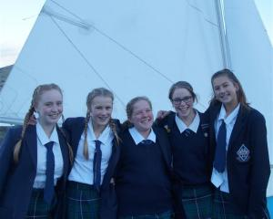 All ready to head to Rarotonga next month are Otago Girls' High School pupils (from left) Isobel...