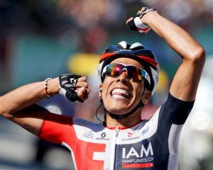 Jarlinson Pantano celebrates his stage victory. Photo Reuters