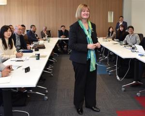 Otago Polytechnic international market manager, Japan, Kerrie Hodgson (centre) greets...