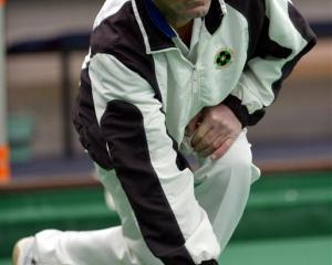 Ross Stevens, of the St Clair club, shows the style which won the PBA ranking tournament at the...