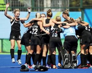 The Black Sticks celebrate their victory over Australia. Photo Reuters