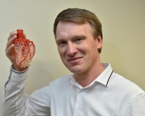 University of Otago medical researcher Associate Prof Greg Jones displays  a model of a human...