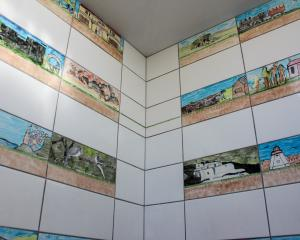 Owaka's new toilets feature ceramic tiles designed and painted by Catlins Area School pupils....