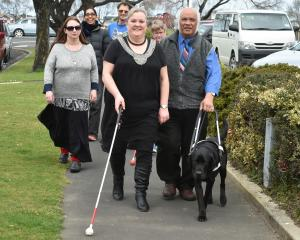 Participants at the Blind Foundation's three-day leadership programme from left, Angeline Leach,...