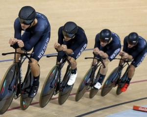 Regan Gough, Aaron Gate, Dylan Kennett and Pieter Bulling of New Zealand compete compete in the...