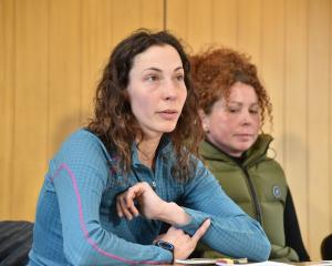 Pavlina Pizova (L) and Vladka Kennett at a media conference in Queesntown on Friday. Photo Craig...