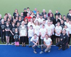 Dunedin hockey players celebrate the official confirmation of setting a world record earlier this...