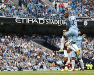 Fernandinho scores Manchester City's second goal. Photo: Reuters