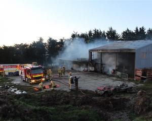 Firefighters from the Balclutha, Milton and Kaitangata Volunteer Fire Brigades douse a shed fire...