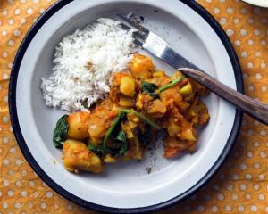 Gingery mixed vegetable and tomato curry. Photos by Kieran Scott.