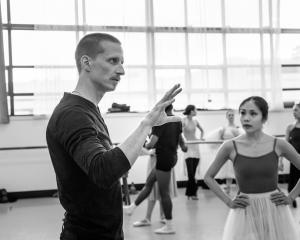 Choreographer Ethan Stiefel works with RNZB dancer Mayu Tanigaito in rehearsal for Giselle. Photo...