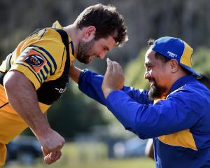 Prop Hisa Sasagi (right) and fellow prop Craig Millar at training for Otago earlier this week. ...