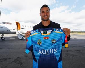 Jarryd Hayne after signing with the Gold Coast Titans. Photo: Getty Images