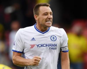Chelsea's John Terry celebrates after a match against Watford during the weekend. Photo: Reuters