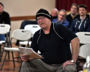 Warrington resident Ken McHoull presents his petition at the Waikouaiti Coast Community Board...
