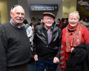 Kiwi Regional Airlines passengers (from left) George Addis, Garth Turner and Raeleen Addis are...