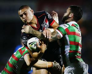Tui Lolohea takes the ball into contact against the Rabbitohs. Photo: Getty Images