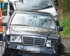 The Mercedes was involved in a crash on Maori Rd. Photo: Peter McIntosh