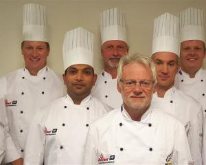 New Zealand's Culinary Olympics team Corey Hume, Richard Hingston, Ganesh Khedekar, Steve Le...