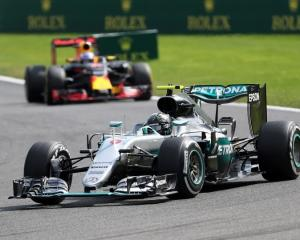 Nico Rosberg leads the way at the Belgian Grand Prix. Photo: Reuters