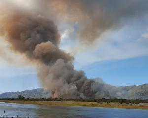 The January 9 blaze on a Waitaki River island near Kurow. Photo: supplied.