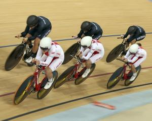 Poland competes with New Zealand during heat 2 of the  Women's Team Pursuit Semifinals at the Rio...
