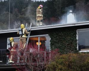 Queenstown firefighters were called to this house in Thompson St at 5.20pm yesterday. Photo by...