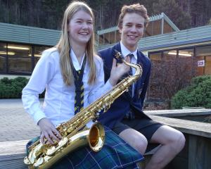 Wakatipu High School jazz band members Ella Macbeth (16) and Luke Petre (17), who were selected...