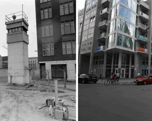 Combination photo showing  the borderline at Zimmerstrasse/Charlottenstrasse at the Berlin Wall...