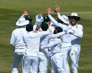 South Africa celebrate a wicket on the way to crushing New Zealand. Photo: Getty Images