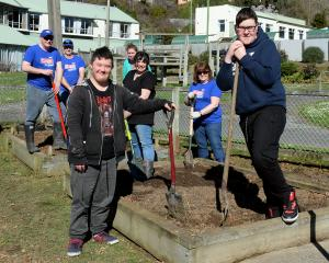 Sarah Cohen School pupils Levi Toki (18, foreground left), and Josh Anderson (20, right) help...