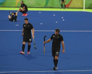 Shea McAleese (left) and Nic Woods after New Zealand's quarterfinal loss. Photo: Getty Images