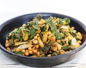 Silverbeet with chickpeas. Photo by Simon Lambert.