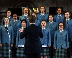 St Hilda's Collegiate School madrigal choir sing at Knox Church on Sunday. Photo: Peter McIntosh.