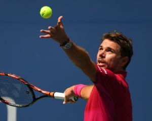 Stan Wawrinka serves during his match against Fernando Verdasco. Photo: Reuters