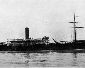 The New Zealand Shipping Company's steamer, Tongariro, wrecked on Bull Rock, near Mahia Peninsula...