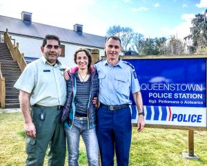 Pavlina Pizova thanks Department of Conservation Wakatipu operations manager Geoff Owen (left)...