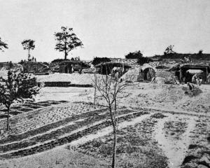 The ramparts of a veritable mole-hill of heavy artillery somewhere in France, with kitchen ...