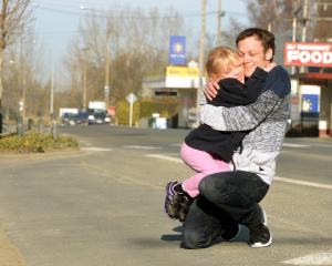 James Winter and his daughter Janae (7), who have been left homeless after a house fire in Milton...