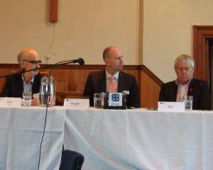 Central Otago mayoral candidate Tim Cadogan (far right) answers a question at a mayoral forum in...