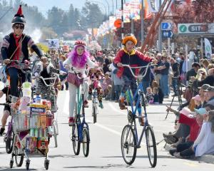 The Fun Bike Club display in the parade featured a wide range of unusual bikes. Photo: Craig Baxter.