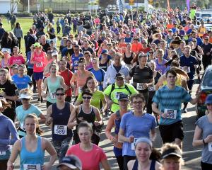 The start of the Cadbury Dunedin Half Marathon at Logan Park yesterday. Photo: Peter McIntosh.