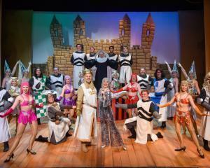 The cast of Spamalot during a recent dress rehearsal at the Mayfair Theatre. Photo: Chris Sullivan.