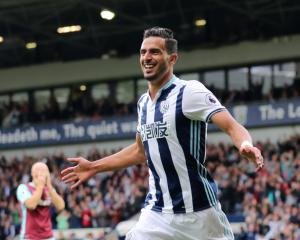 West Bromwich Albion's Nacer Chadli celebrates scoring their fourth goal. Photo: Reuters